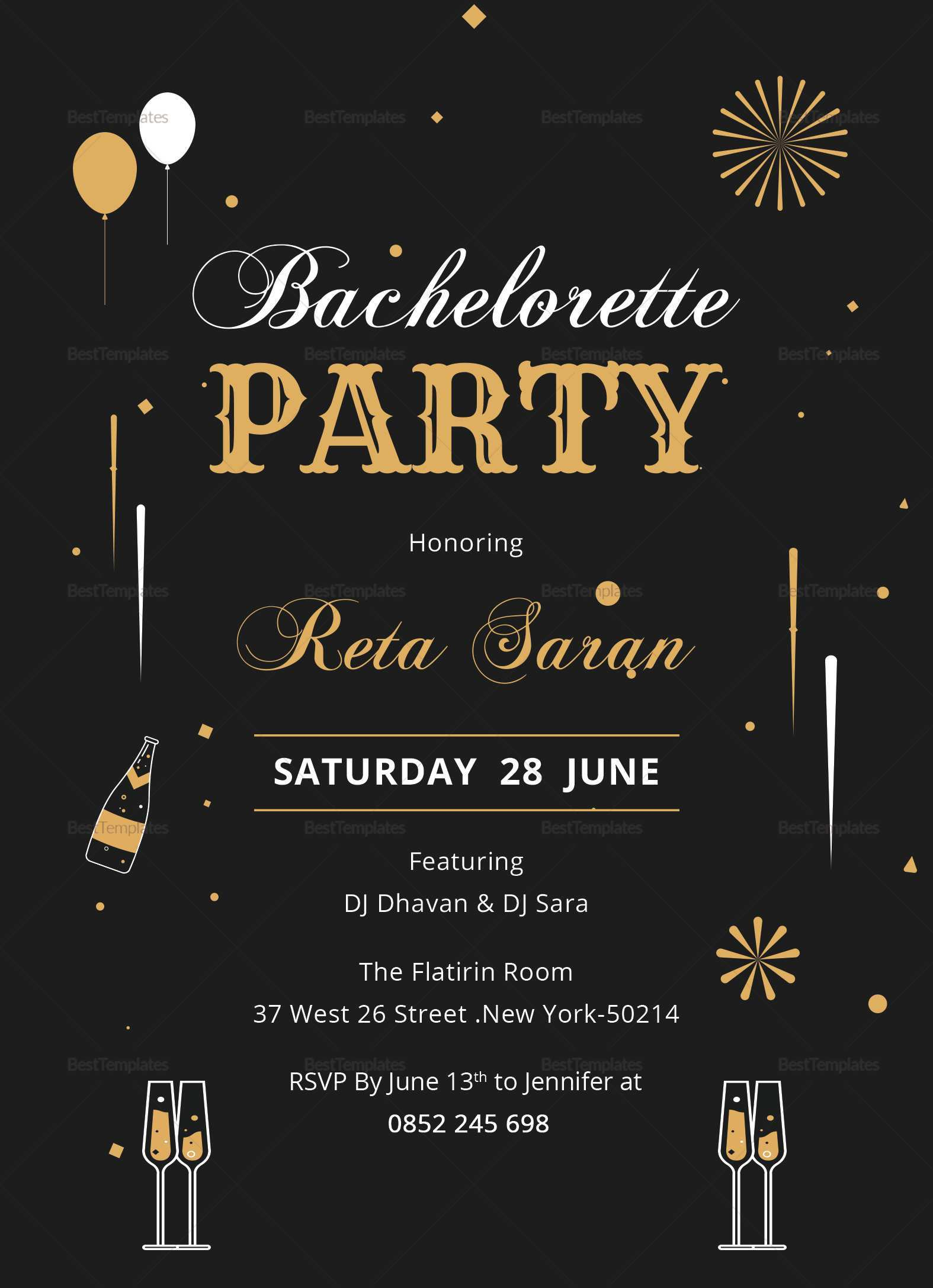 Bachelorette Party Invitation Template Free from legaldbol.com