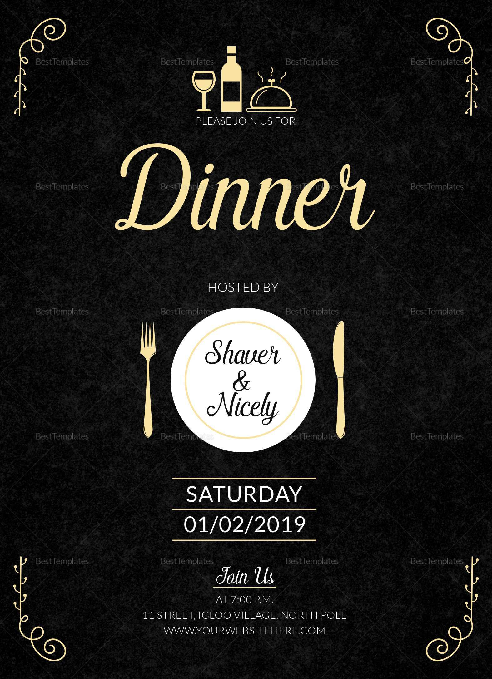 29 Free Dinner Invitation Card Template For Free with Dinner Invitation  Card Template - Cards Design Templates