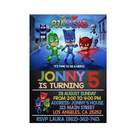 30 Creating Pj Mask Birthday Invitation Template With Stunning Design With Pj Mask Birthday Invitation Template Cards Design Templates