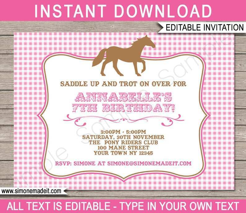 31 Customize Our Free Horse Birthday Invitation Template Templates for Horse Birthday Invitation Template