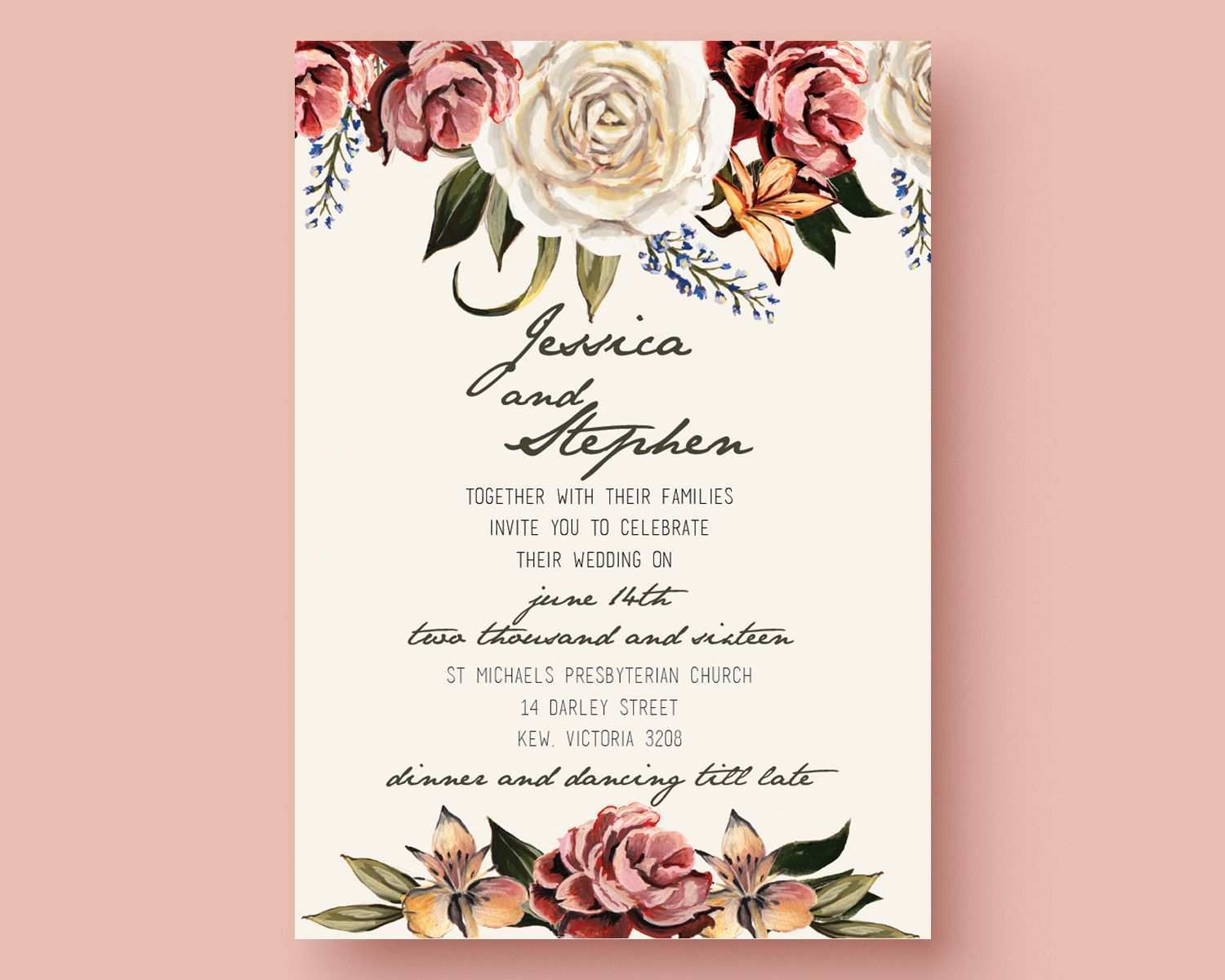 make your own wedding invitation template free  cards