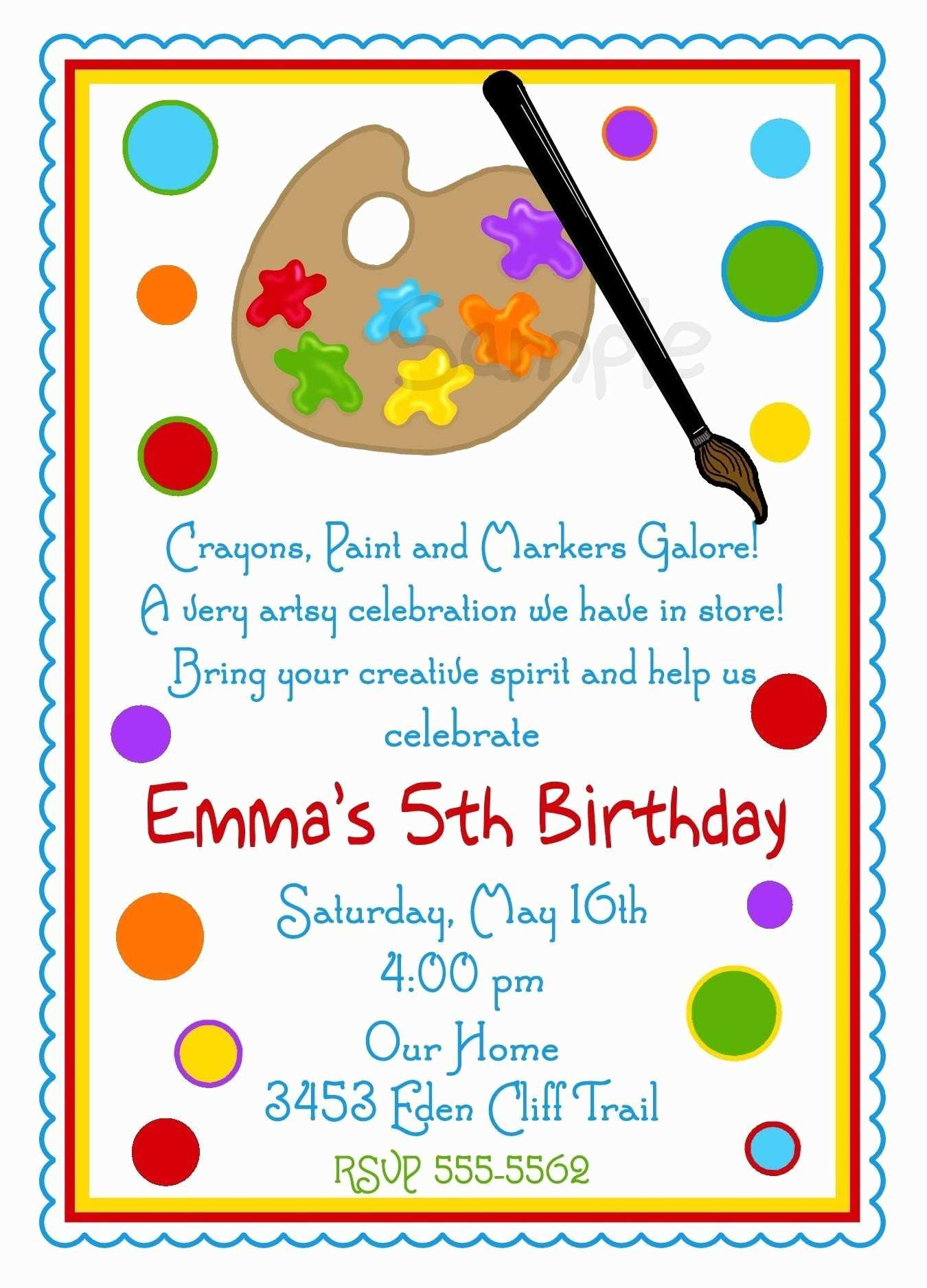 33 Create Art Party Invitation Template Photo by Art Party Invitation Template
