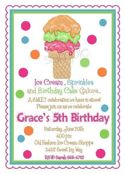 34 The Best Ice Cream Birthday Invitation Template Free For Free by Ice Cream Birthday Invitation Template Free