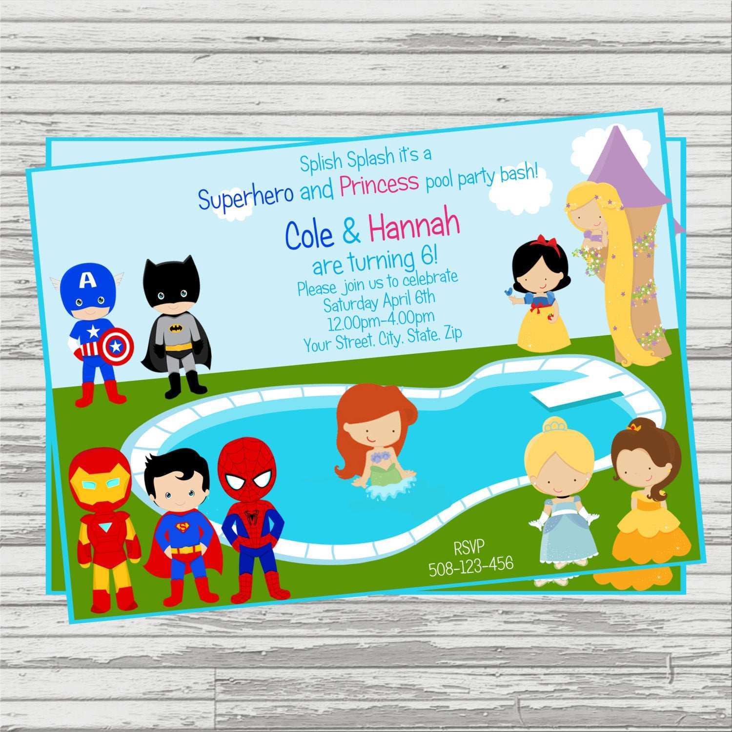 5 Visiting Princess And Superhero Party Invitation Template With