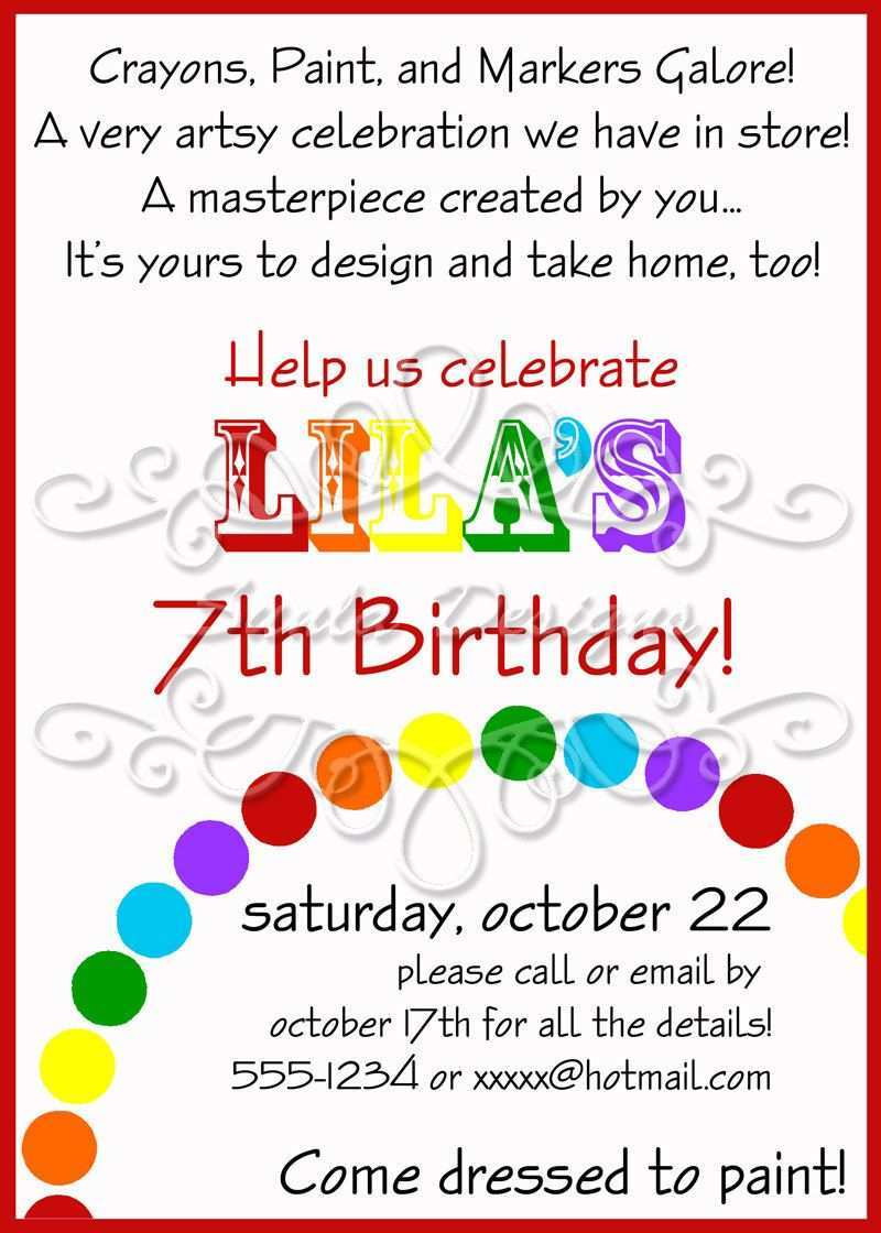 37 Visiting Art Party Invitation Template Photo by Art Party Invitation Template
