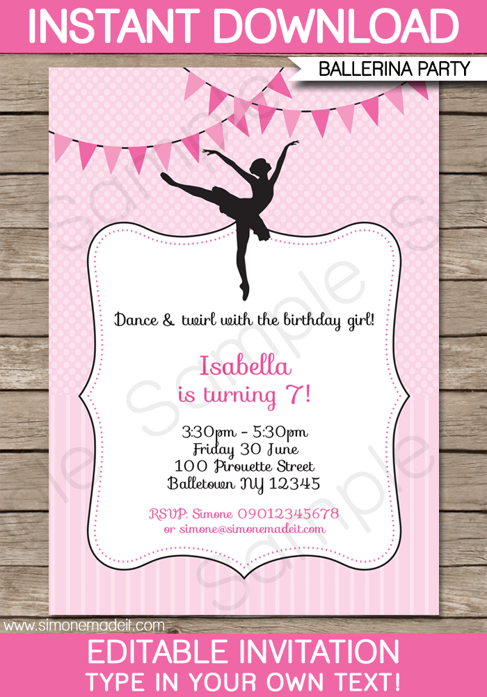 38 Free Printable Ballerina Birthday Invitation Template Free Photo by Ballerina Birthday Invitation Template Free