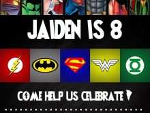 39 Adding Justice League Birthday Invitation Template With Stunning Design with Justice League Birthday Invitation Template
