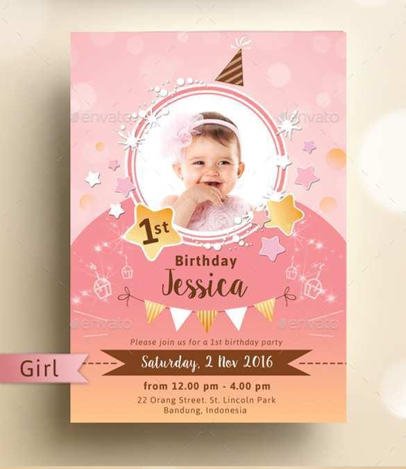 40 Create Baby Birthday Invitation Card Template Vector Templates with Baby Birthday Invitation Card Template Vector