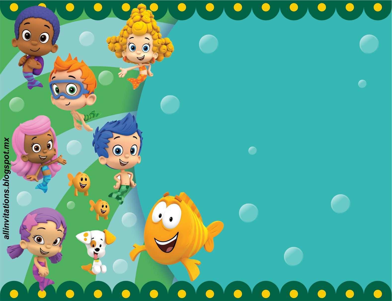 41 Free Bubble Guppies Blank Invitation Template With Stunning Design for Bubble Guppies Blank Invitation Template