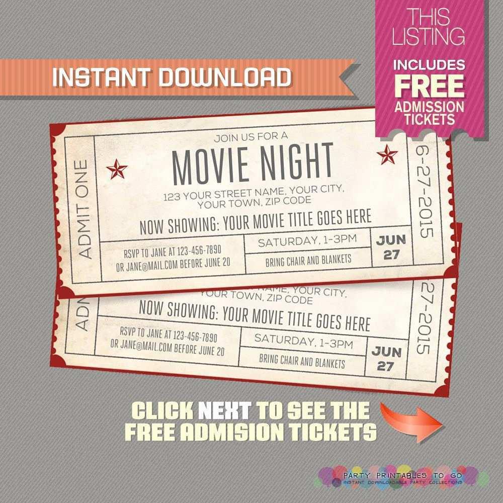 41 Free Printable Blank Movie Ticket Invitation Template PSD File with Blank Movie Ticket Invitation Template