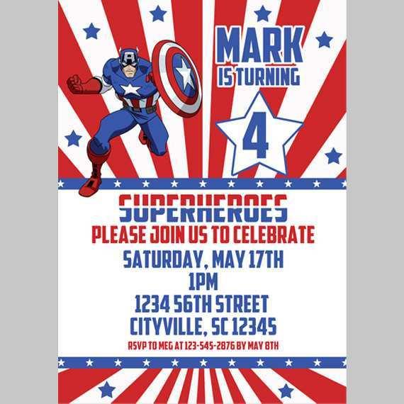 42 How To Create Captain America Birthday Invitation Template Templates with Captain America Birthday Invitation Template
