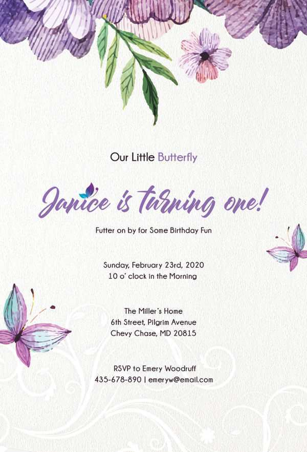 42 Visiting Birthday Invitation Butterfly Template Photo for Birthday Invitation Butterfly Template