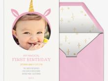 43 Online 1St Birthday Invitation Template Unicorn in Word by 1St Birthday Invitation Template Unicorn