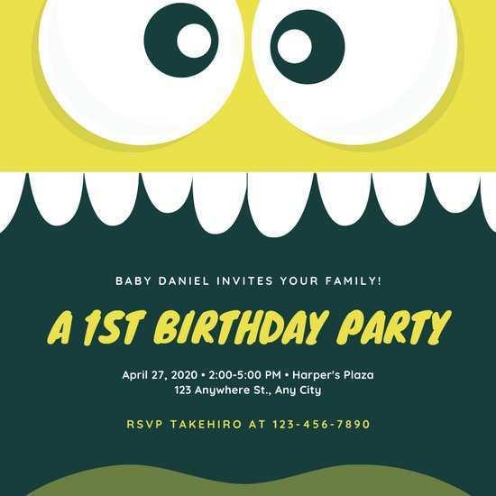 43 Printable 1St Birthday Invitation Video Template Maker for 1St Birthday Invitation Video Template
