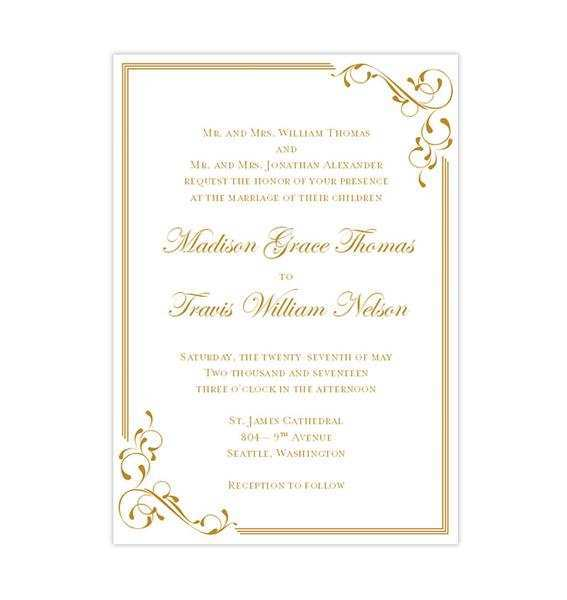 44 Free Printable Wedding Invitation Template Gold Maker For Wedding Invitation Template Gold Cards Design Templates