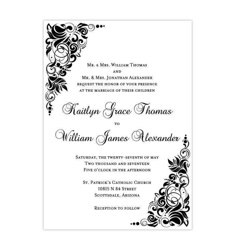 Wedding Invitation Templates Black