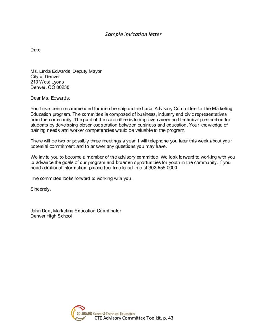 Formal Invitation Letter Samples