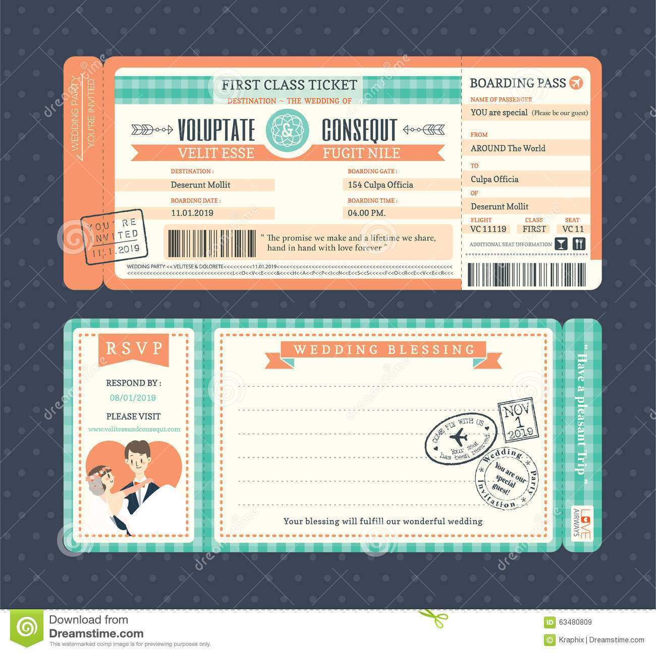 47 Create Ticket Wedding Invitation Template Free Templates by Ticket Wedding Invitation Template Free