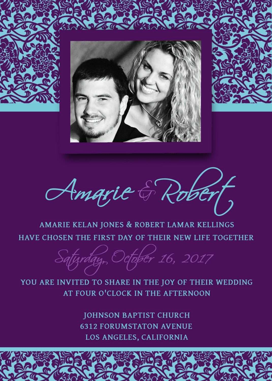 47 Customize Wedding Invitation Templates Violet PSD File with Wedding Invitation Templates Violet