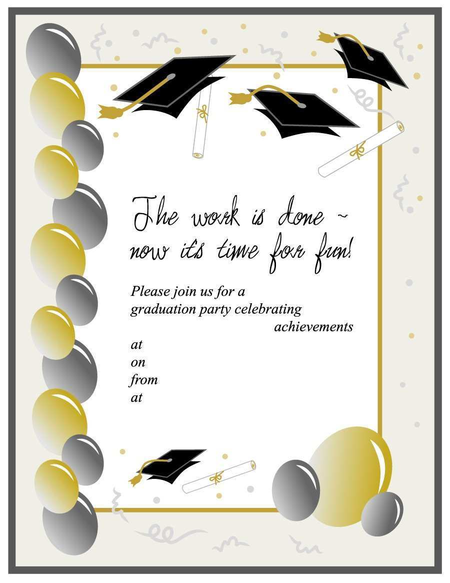 21 Free Printable Blank Graduation Invitation Template Photo for Intended For Free Graduation Invitation Templates For Word