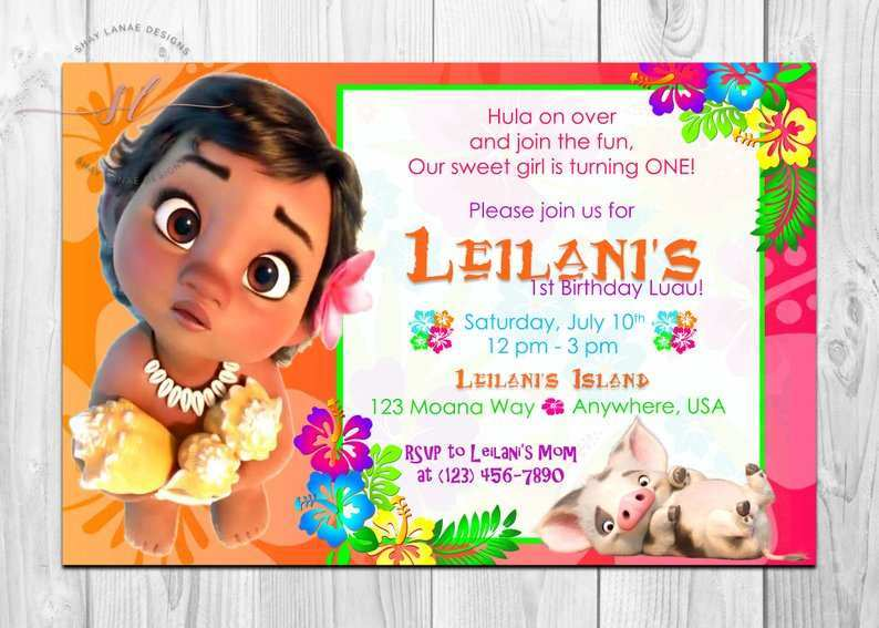 47 How To Create Baby Moana Birthday Invitation Template With Stunning Design with Baby Moana Birthday Invitation Template