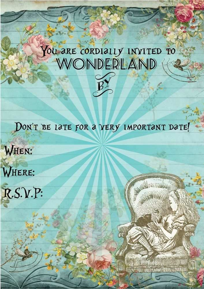 48 Creative Blank Alice In Wonderland Invitation Template For Free with Blank Alice In Wonderland Invitation Template
