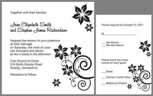 48 Free Printable Black And White Wedding Invitation Template Layouts for Black And White Wedding Invitation Template