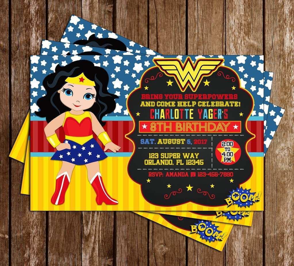 3 Creating Wonder Woman Birthday Invitation Template Free