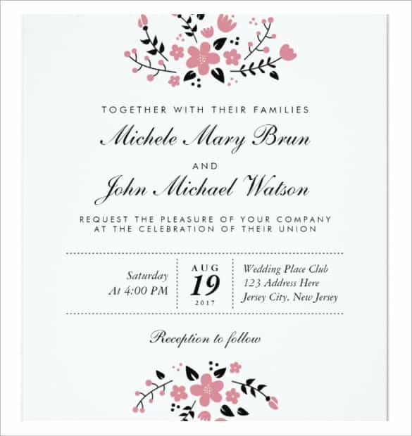49 Printable Sample Invitation Card Wedding Party for Ms Word by Sample Invitation Card Wedding Party