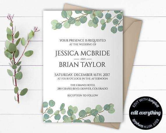 51 Format Wedding Invitation Template Eucalyptus in Word with Wedding Invitation Template Eucalyptus