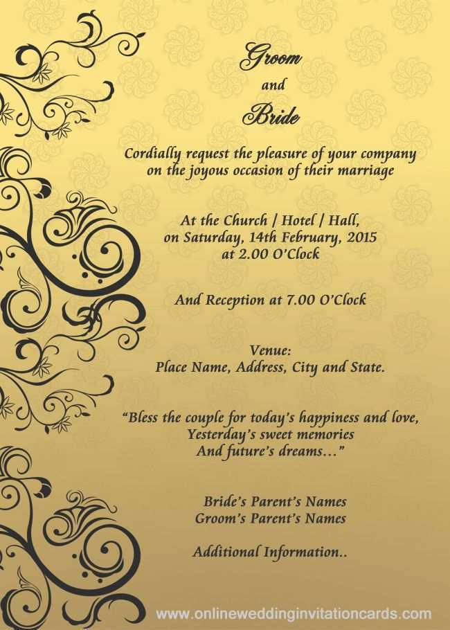 51 Standard Invitation Card Format For Marriage With Stunning Design by Invitation Card Format For Marriage