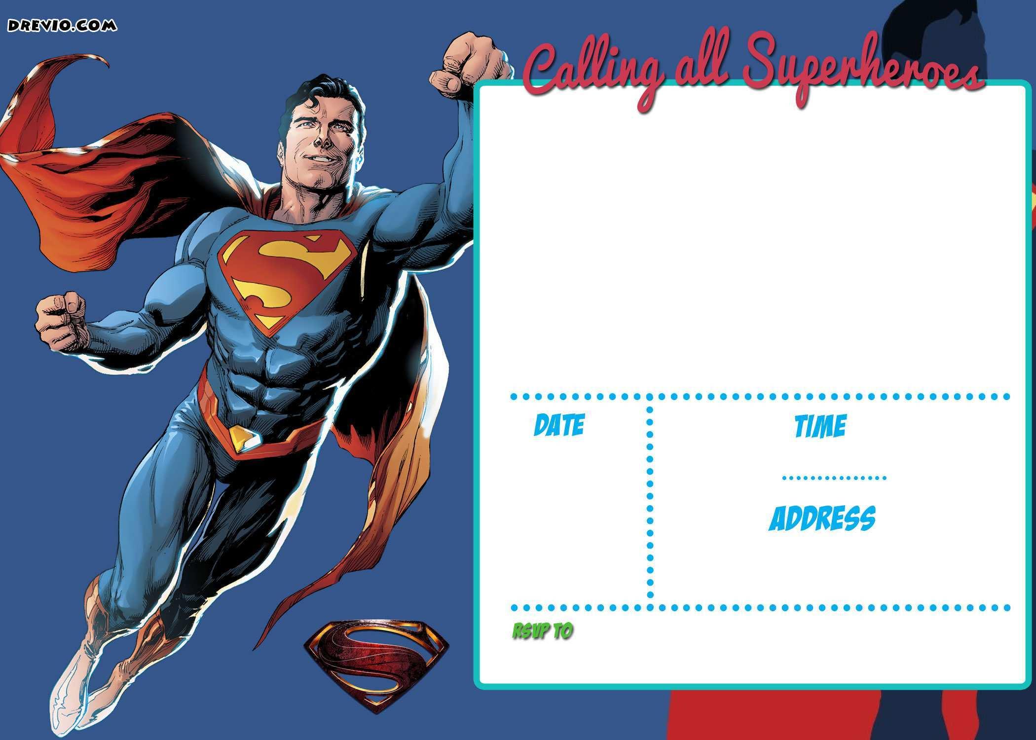 21 Blank Superman Birthday Invitation Template Photo for Superman Intended For Superman Birthday Card Template