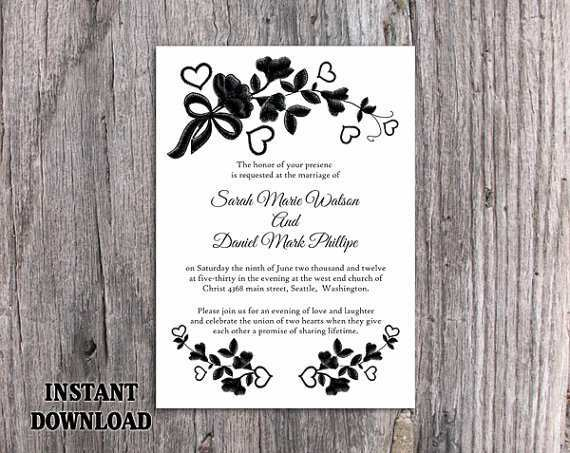 52 Format Black And White Wedding Invitation Template Formating with Black And White Wedding Invitation Template