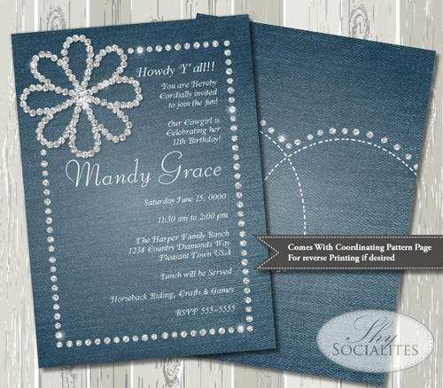 54 Create Denim Party Invitation Template With Stunning Design for Denim Party Invitation Template