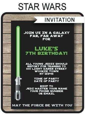 54 Customize Star Wars Birthday Invitation Template PSD File with Star Wars Birthday Invitation Template