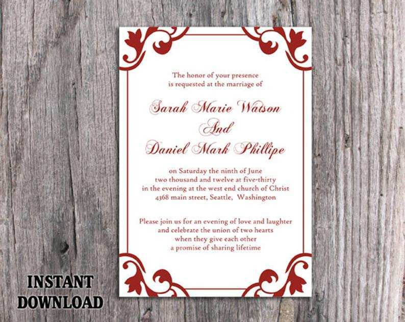 54 Format Wedding Invitation Template To Download for Ms Word with Wedding Invitation Template To Download