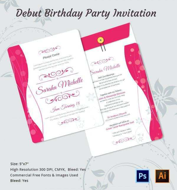 54 Free Invitation Card Example For Debut Templates for Invitation Card Example For Debut