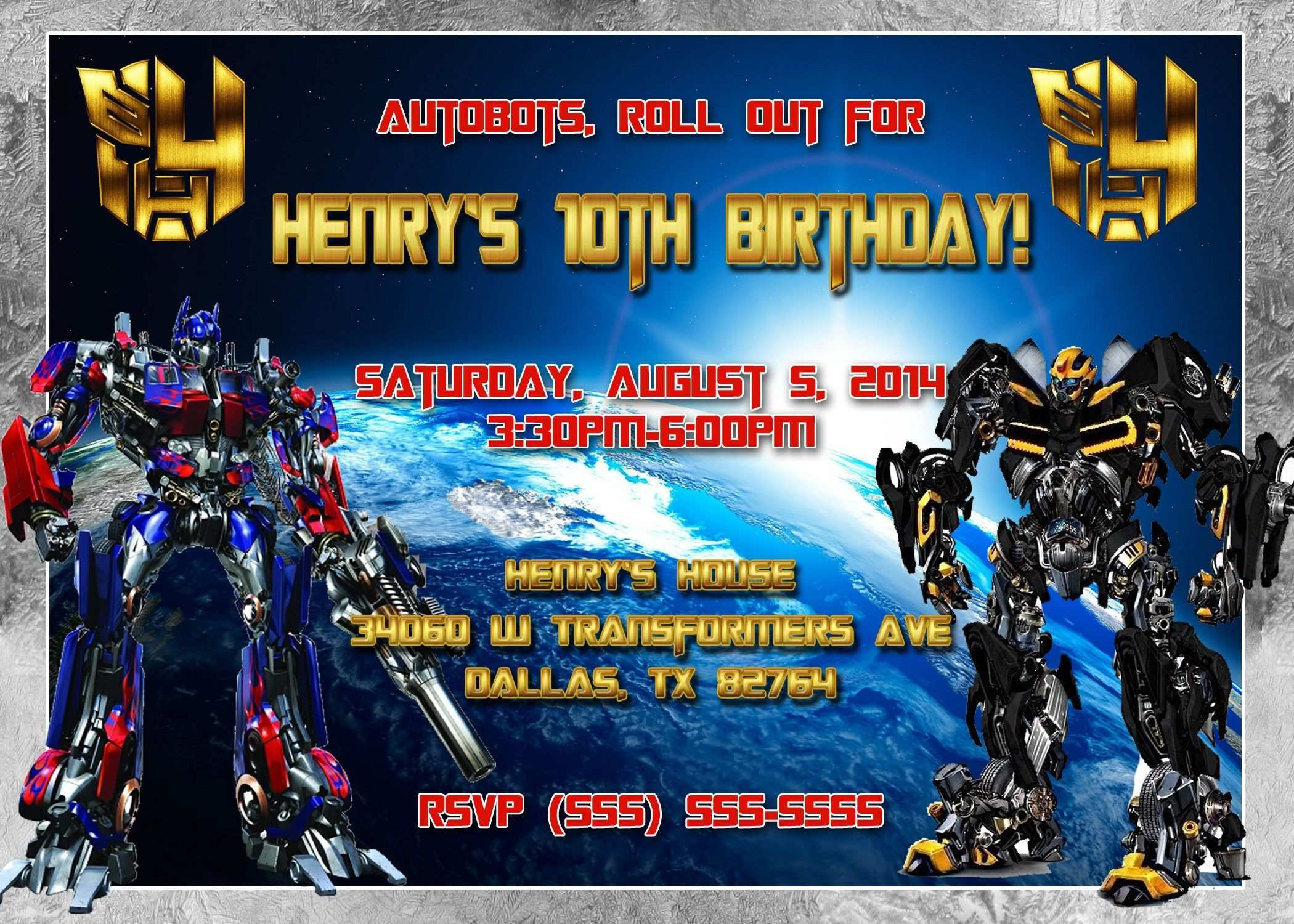 55 Visiting Transformers Birthday Invitation Template For Free with Transformers Birthday Invitation Template