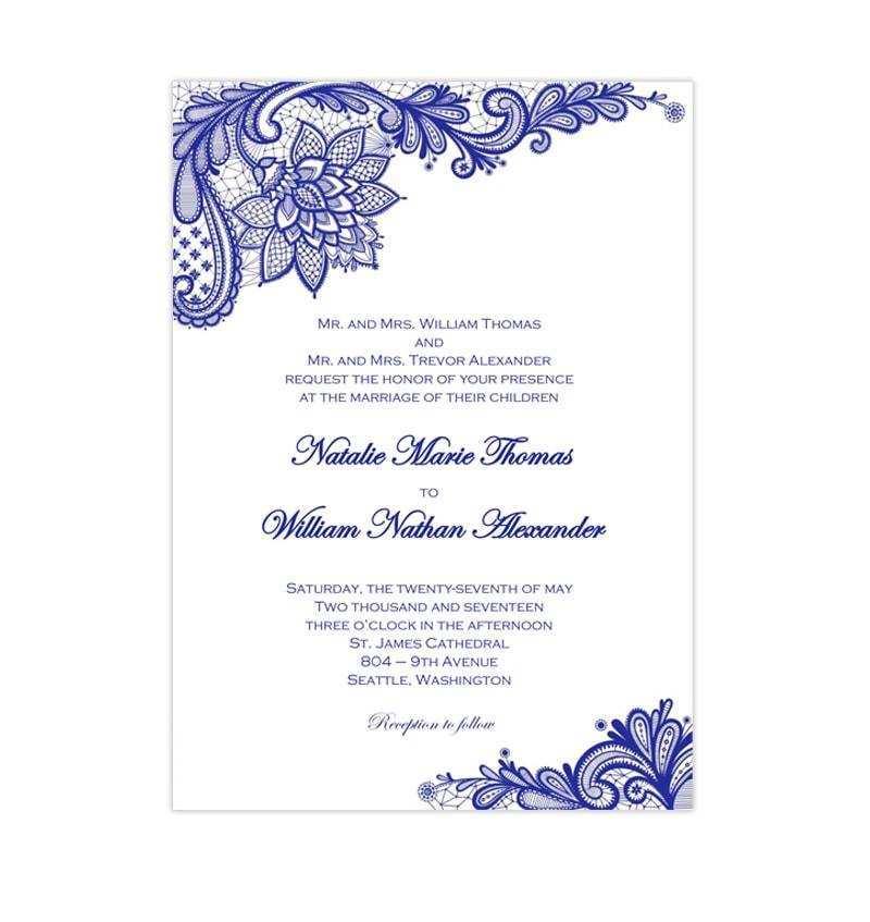 57 Standard Royal Blue Wedding Invitation Template Photo by Royal Blue Wedding Invitation Template