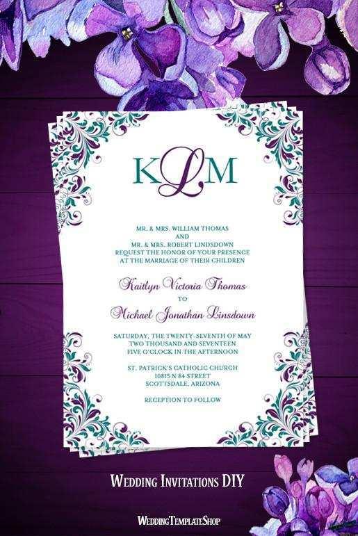 58 Best Wedding Invitation Templates Violet For Free by Wedding Invitation Templates Violet