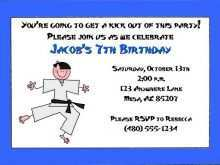 58 Format Karate Party Invitation Template in Word with Karate Party Invitation Template