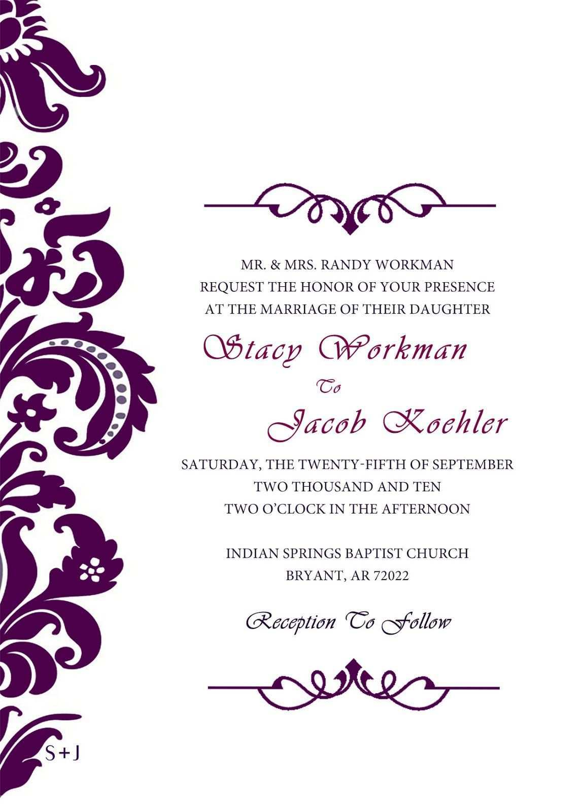 61 Standard Wedding Invitation Templates Violet Now for Wedding Invitation Templates Violet