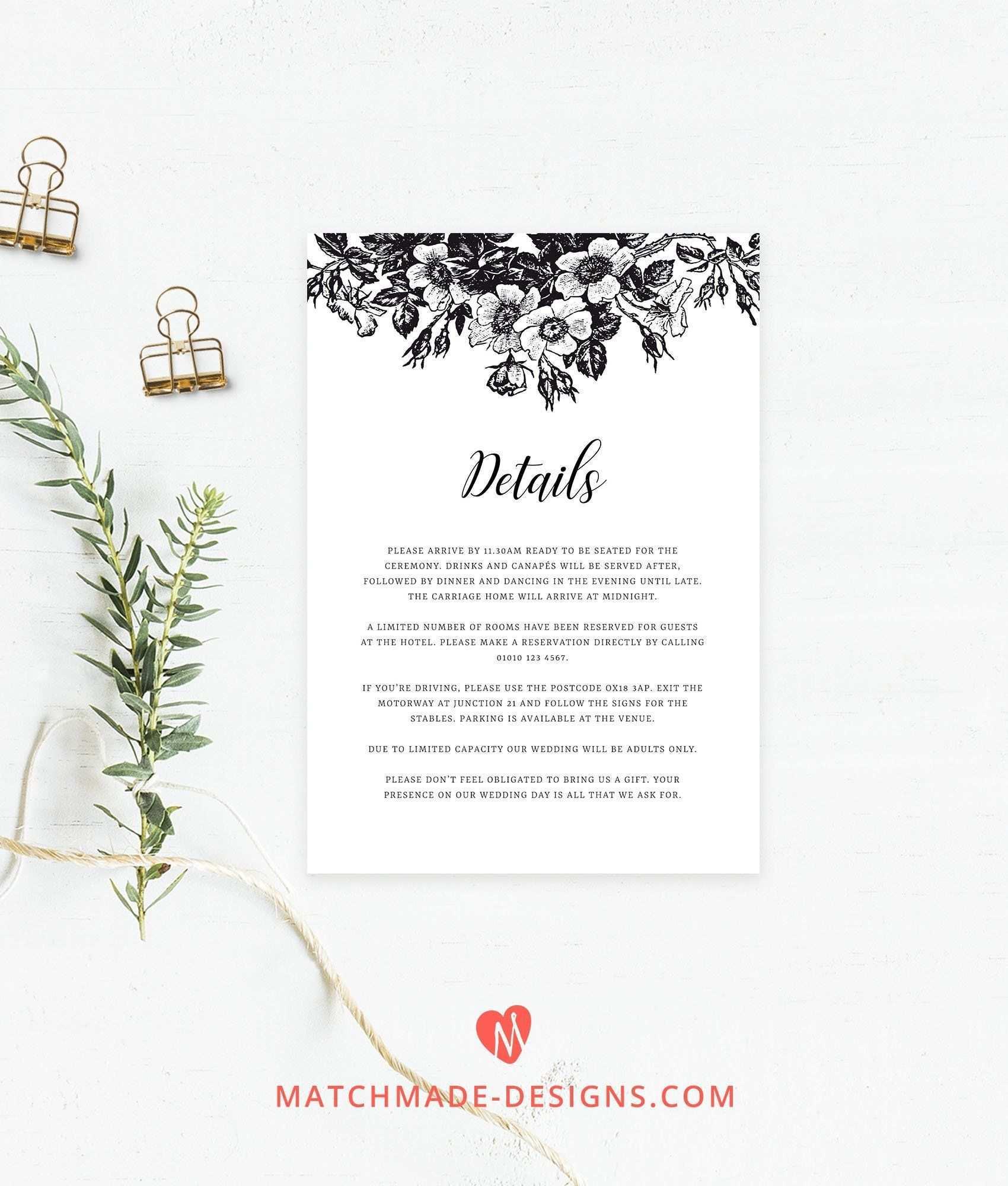 61 Visiting Wedding Invitation Information Insert Template For Free by Wedding Invitation Information Insert Template