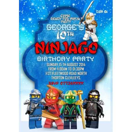 64 Customize Ninjago Party Invitation Template Now by Ninjago Party Invitation Template