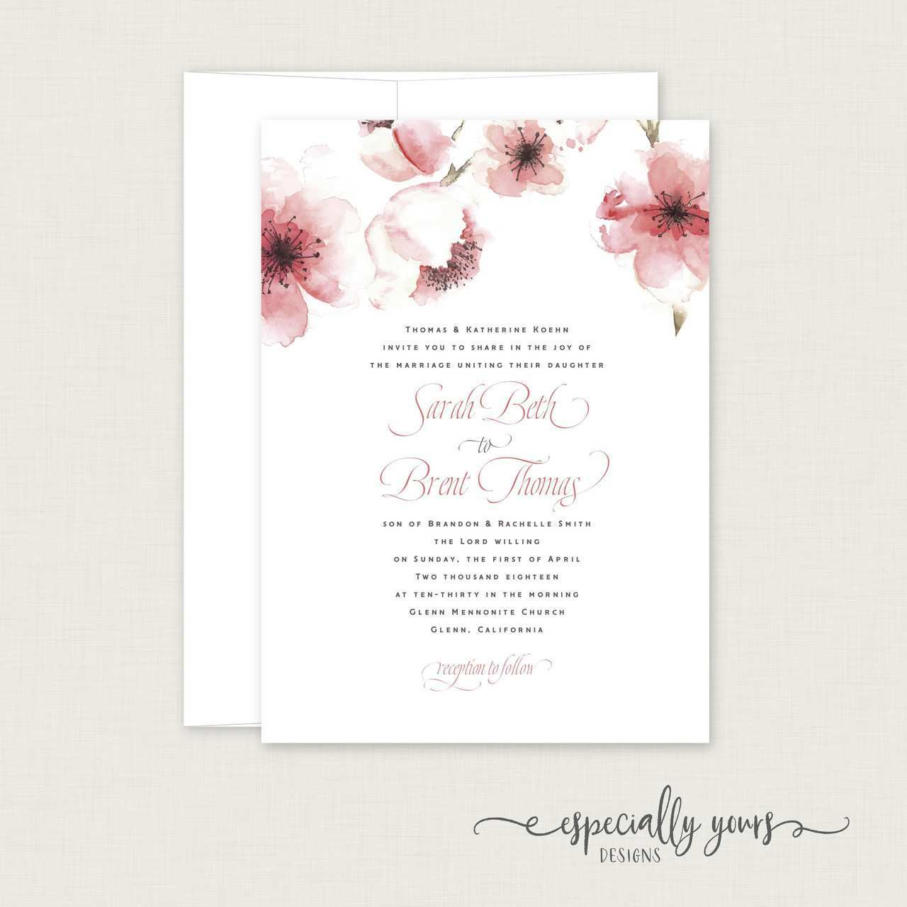 65 Blank Cherry Blossom Wedding Invitation Template For Free with Cherry  Blossom Wedding Invitation Template - Cards Design Templates