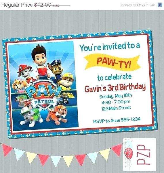 65 Creative Paw Patrol Birthday Invitation Template Free PSD File by Paw Patrol Birthday Invitation Template Free