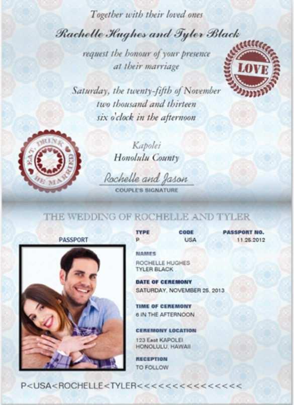 65 Format Free Passport Wedding Invitation Template With Stunning Design for Free Passport Wedding Invitation Template