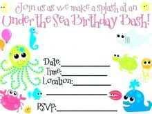 Under The Sea Birthday Invitation Template Free
