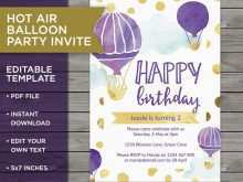 66 Create Hot Air Balloon Birthday Invitation Template Layouts with Hot Air Balloon Birthday Invitation Template
