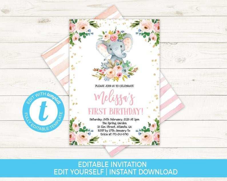 66 Visiting Birthday Invitation Elephant Template in Word by Birthday Invitation Elephant Template